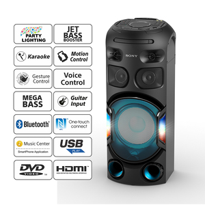 Buy Sony MHC-V42D Party Speaker with Long Distance Bass Sound ( Bluetooth,  Jet Bass Booster, Karaoke ,Guitar Input,FM Tuner) at Reliance Digital
