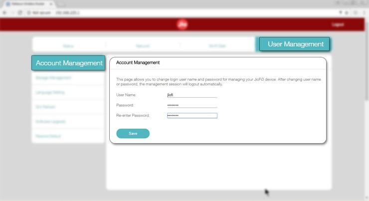 How to change JioFi Account details